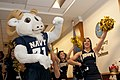 US Navy 111209-N-PM781-005 ill the Goat, the U.S. Naval Academy mascot, and the U.S. Naval Academy Cheerleading Squad perform during a pep-rally at.jpg