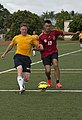 US Navy Sailors and the People's Liberation Army Navy Midshipmen play soccer match 151013-N-WC566-045.jpg