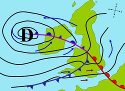 Carte météorologique d'une dépression affectant la Grande-Bretagne et l'Irlande. Les flèches bleues et rouges entre les isobares indiquent la direction des vents, alors que le symbole D marque son centre, soit l'endroit de la plus basse pression atmosphérique.
