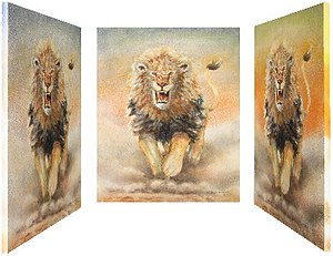 Uli Aschenborn - Image: Uli Aschenborn Lion attack with changing background