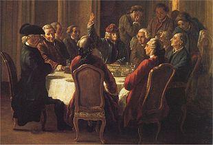 Una cena di filosofi o La santa cena del patriarca di Jean Huber. Al tavolo di Voltaire a Ferney, si vede anche Denis Diderot (l'uomo seduto di profilo a destra)