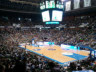Palacio de Deportes José María Martín Carpena - The arena, with its new scoreboard, during a basketball game in November 2011.