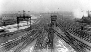 View of rail yard at Union Station, Washington, DC