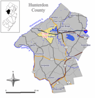 Map of Union Township in Hunterdon County. Inset: Location of Hunterdon County in New Jersey.