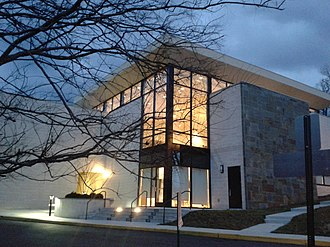 Unitarian Universalist Church of Arlington - Front of the church at dusk, March 2015