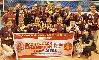 Volleyball in the Philippines - The Lady ALTAS Volleyball Team of the University of Perpetual Help, the back-to-back Champion during the National Collegiate Athletic Association (NCAA) Beach Volleyball Tournament 2013.