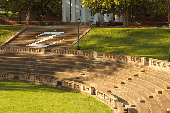 The University Amphitheater is often used for outdoor lectures and student gatherings University of Virginia Amphitheater.jpg
