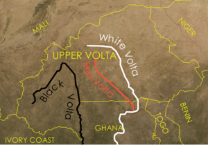 Republic of Upper Volta - Map showing the Volta River in Upper Volta.