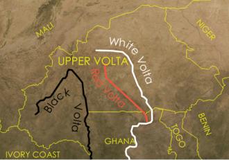 Republic of Upper Volta - Map showing the Volta River in Upper Volta.