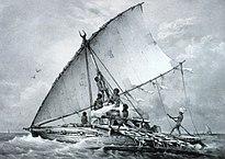 Canoa tradizionale. 1842. Dipinto di Louis Le Breton