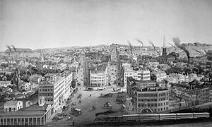 Utica, New York - Bird's-eye view of Utica over Bagg's Square in the 1850s, showing the smoke from numerous factory chimneys
