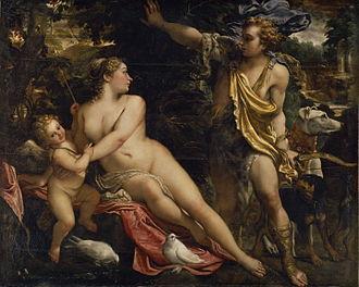 Venus, Adonis and Cupid - Venus, Adonis and Cupid by Annibale Carracci