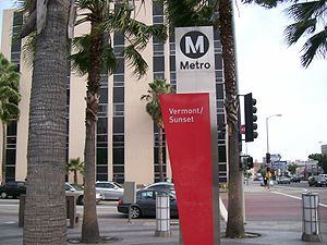 Vermont/Sunset station - The Vermont/Sunset station's sign pillar; this variation was used from 2004 to 2014