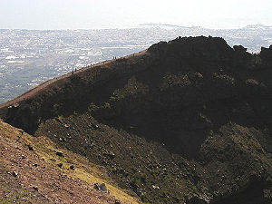 Mount Vesuvius - A view of the crater wall of Vesuvius, with the city of Torre del Greco in the background