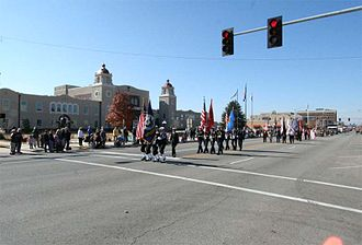 Ponca City, Oklahoma - Veteran's Day Parade down Grand Avenue in front of the Ponca City Civic Center and Town Hall