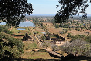 Vat Phou - View from near the sanctuary on the upper level of Vat Phou, looking back towards the Mekong