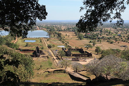 Near the sanctuary on the main upper level of Vat Phou, looking back towards the Mekong River ViewFromWatPhu.JPG