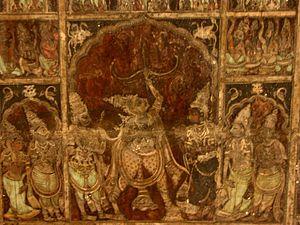Mysore painting - Painted ceiling, Virupaksha temple, Hampi, 15th century