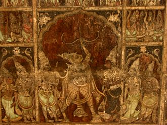 Mysore painting - Painted ceiling, Virupaksha temple, Hampi, 15th century