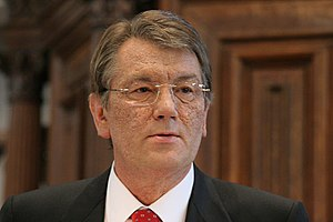 Viktor Yushchenko - Yushchenko at the University of Amsterdam, with chloracne from TCDD dioxin poisoning (2006).