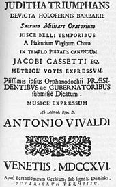 First edition of Juditha triumphans