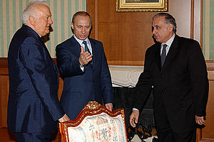 Sochi agreement - Then President of Russia Vladimir Putin meeting with then President of Georgia Eduard Shevardnadze and then Prime Minister of Abkhazia Gennady Gagulia in Sochi on 7 March 2003.