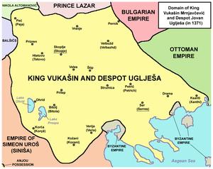 Vukašin of Serbia - Domain of King Vukašin Mrnjavčević and Despot Jovan Uglješa (in 1371).