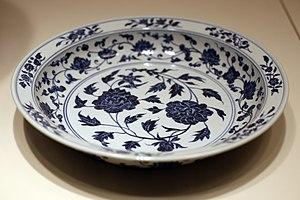 Cobalt glass - Ming dish, with smalt blue decoration