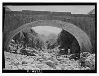 Wady J'Meijina (?), the bridges. Sunnin seen in distance under arch LOC matpc.12712.jpg