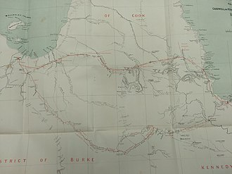 Frederick Walker (native police commandant) - Frederick Walker's route (dotted red line) for the proposed electric telegraph in 1866