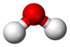 Ball-and-stick model of the water molecule
