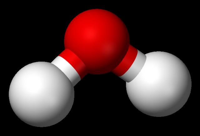 Vattenmolekylen är vinklad.