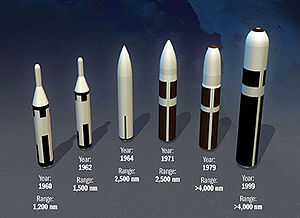 United States Navy Special Projects Office - Weapons of the Fleet Ballistic Missile Submarine Fleet (left to right): Polaris A1 (1960), Polaris A2 (1962), Polaris A3 (1964), and later missiles Poseidon (1971), Trident I (1979) and Trident II (1999).