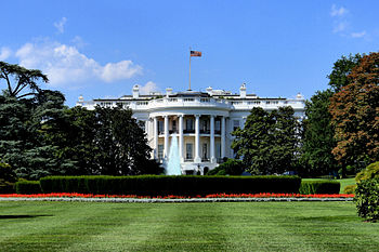 South façade of the White House, the executive...