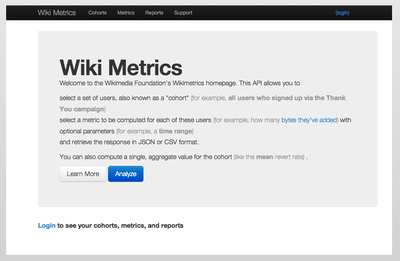 Wiki Metrics Screen Shot - Main Page