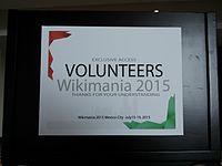 Wikimania 2015-Tuesday-Volunteers sign.jpg