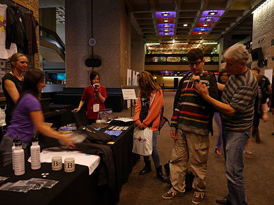 Wikimedia Foundation shop in the Wikimania 2014 communities village on hackathon day 1 03.jpg