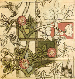 "Arts and Crafts movement - William Morris design for ""Trellis"" wallpaper, 1862"