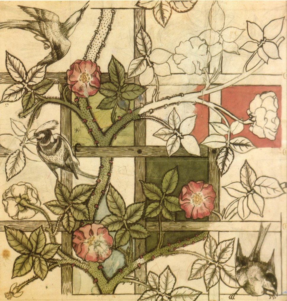 William Morris design for Trellis wallpaper 1862