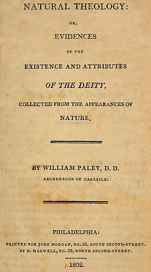 William Paley - Title Page of William Paley's Natural Theology or Evidences of the Existence and Attributes of the Deity, 1802