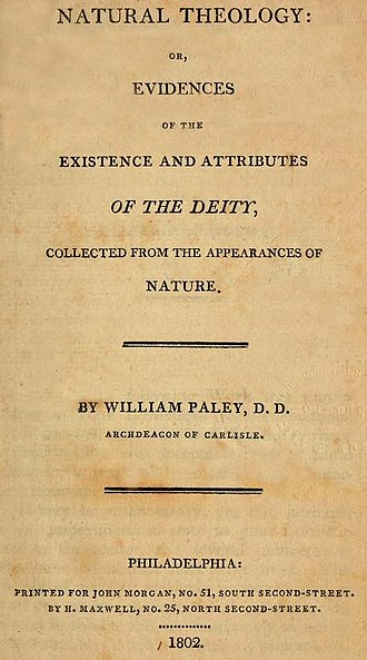 Natural Theology or Evidences of the Existence and Attributes of the Deity - Image: William Paley Natural Theology or Evidences of the Existence and Attributes of the Deity Title Page 1802