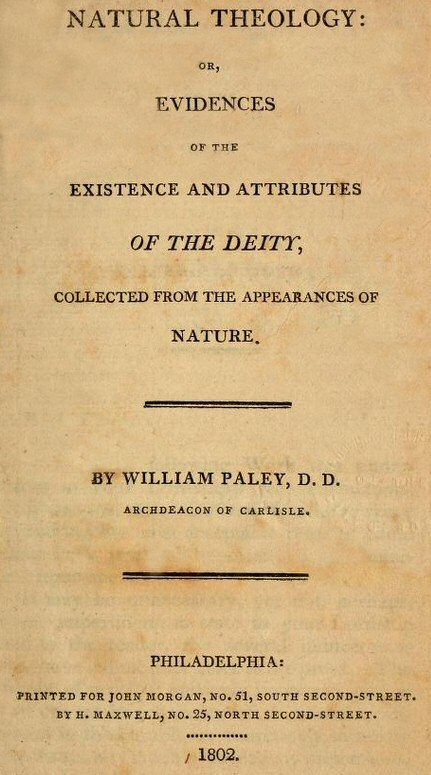 William Paley Natural Theology or Evidences of the Existence and Attributes of the Deity Title Page 1802