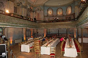 Wilton's Music Hall - The interior of Wilton's being set for a wedding. The lines of tables give some idea of how it was used as a supper club.