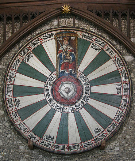 Round table, made by Edward, now hung in Winchester Castle. It bears the names of various knights of King Arthur's court. Winchester RoundTable.jpg