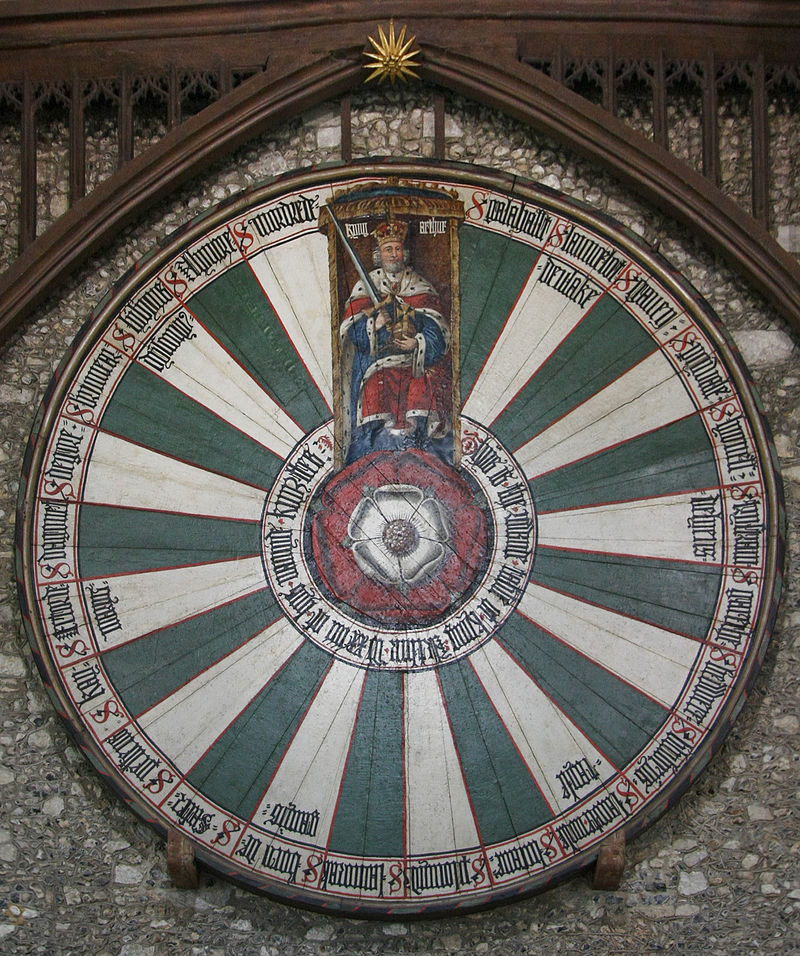 Round table, Winchester Castle (Wiki - By Martin Kraft - Own work, CC BY-SA 3.0, https://commons.wikimedia.org/w/index.php?curid=16639627)