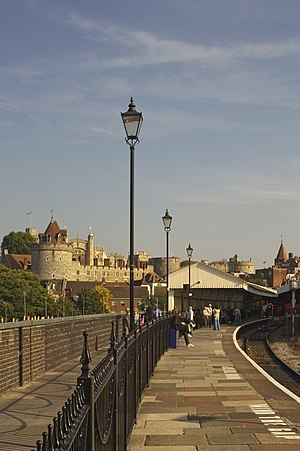 Windsor & Eton Central railway station - The end of the branch line from Slough: the truncated Platform 1, with the towers of Windsor Castle visible in the background