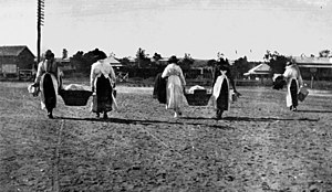 Helidon, Queensland - Women taking baskets of food to the troop train passing through Helidon, World War I