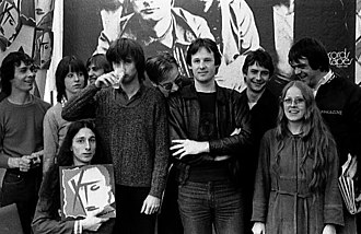 XTC - Moulding, Partridge, and Gregory photographed with fans in 1980