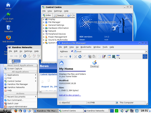 Xandros - Xandros 4.1 OCE (KDE) running Xandros File Manager, Xandros Networks, Control Centre and the Xandros Launch Menu