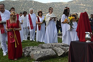 Supreme Council of Ethnic Hellenes - YSEE's Spring Equinox 2016 ritual at an ancient temple of Goddess Artemis in Peloponnese.